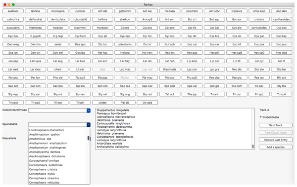 Main counting window with buttons, hierarchical category menus and count status information.