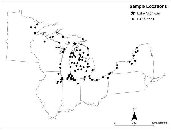 Map of collection locations for samples used in this study.