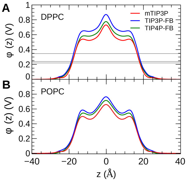 The membrane dipole potential (ϕ) calculated for the three water models of (A) DPPC and (B) POPC lipid bilayers.