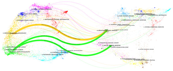 The dual-map overlay of journals related to hepatocellular carcinoma research.