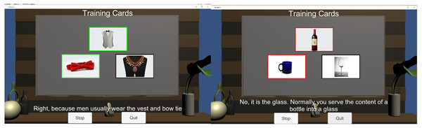 Screenshots of semantic memory game, during the initial training phase.