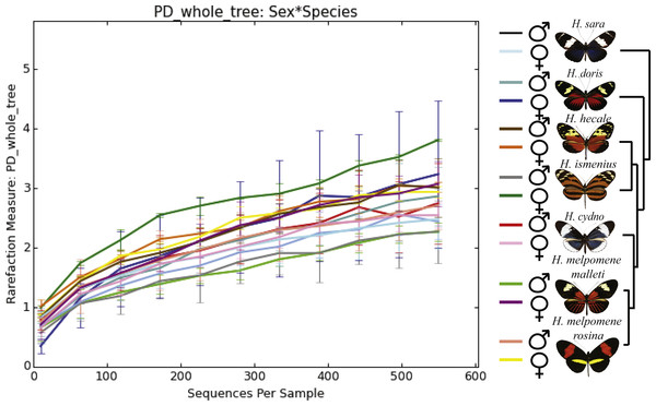 Alpha phylogenetic diversity measures do not differ significantly between species or sexes.