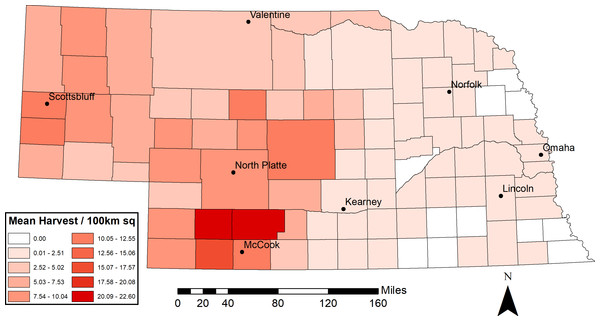 Mean actual mule deer harvest density (individuals/100 km2) from 2014–2016 in Nebraska, USA by county.