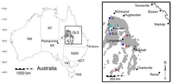 A map of the outcropping of the Winton Formation in Queensland, Australia.