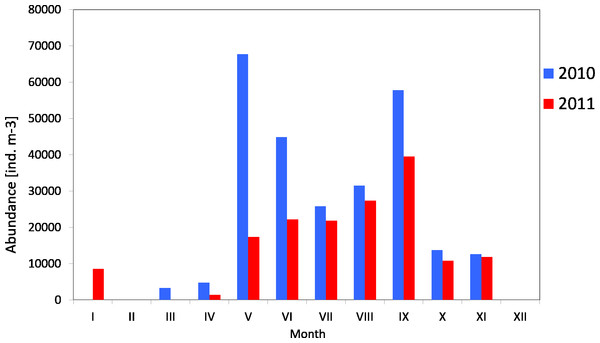 Abundance of Copepoda; data integrated for the whole water column at station P2 (inner Gulf of Gdańsk) in 2010–2011.