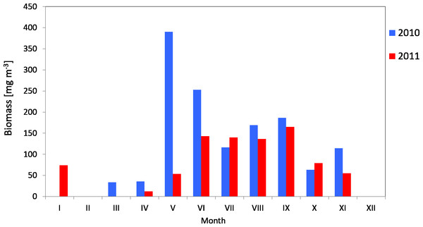 Biomass of Copepoda; data integrated for the whole water column at station P2 (inner Gulf of Gdańsk) in 2010–2011.