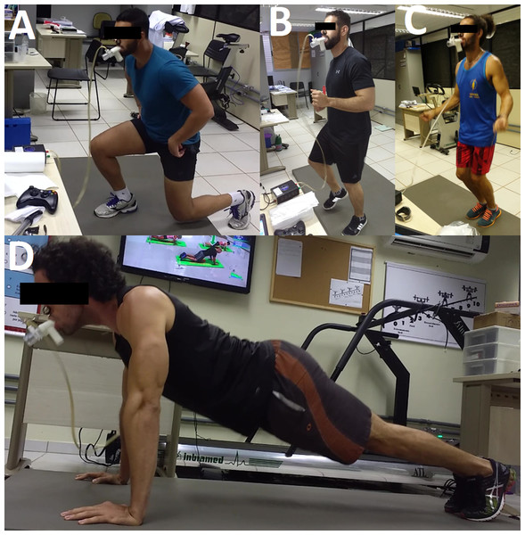 Some exercises of the Sports Athlete protocol performed by the participants during the exergame session.