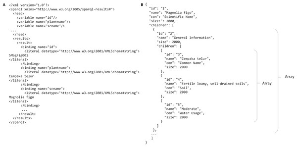 An example of query result in XML and JSON formats.