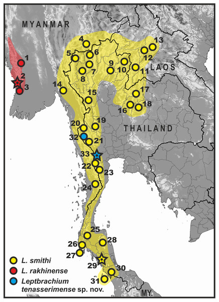 Map of Thailand and adjacent parts of Indochina, showing distribution of L. smithi species group members (clade L1).