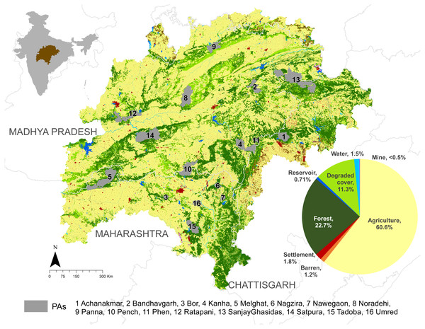 Map of the study landscape showing the landuse-landcover patterns, state boundaries, and protected areas.