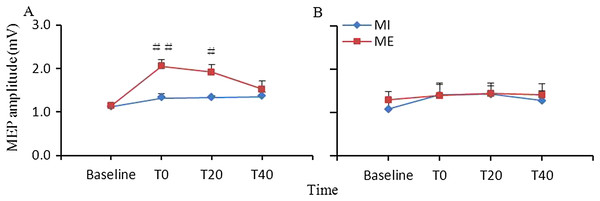 Comparison of the effects of ME and MI on corticospinal excitability.