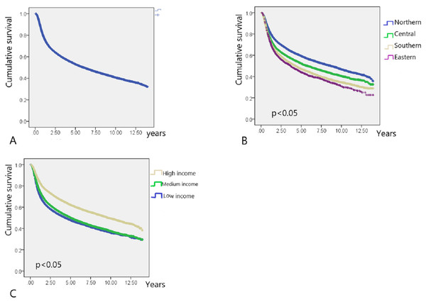 Kaplan–Meier survival curve of HNC patients post radiotherapy.