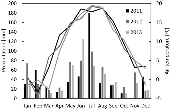 Monthly sums of precipitation and mean air temperatures in Brody for 2011–2013.