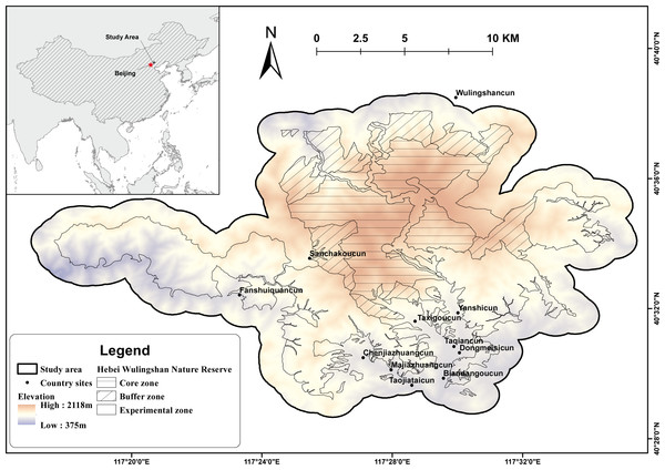 Topographic map of Hebei Wulingshan National Nature Reserve showing the study area.