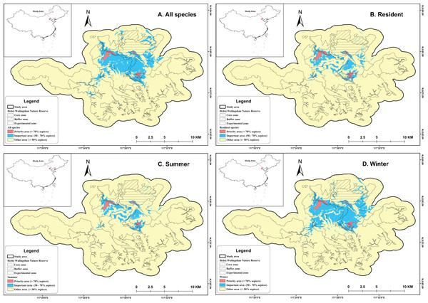 Study area with hotspots identified by four different scenarios.