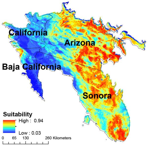 Map of habitat suitability of Saguaro.