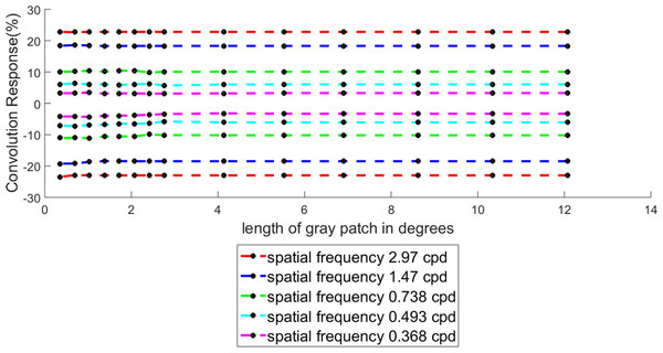 Percentage convolution response for different length of the target while keeping the spatial frequency as fixed.