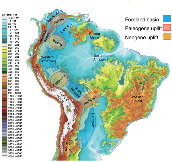 The complex topography and geology of South America.