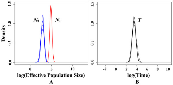 Estimated posterior distributions of N0, N1 and T using MSVAR.