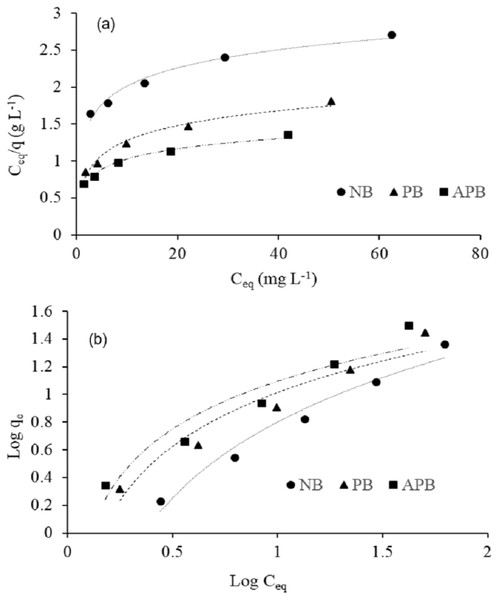 Equilibrium adsorption isotherm models: Langmuir isotherm (A) and Freundlich isotherm (B) models at adsorbent doze of 0.25 g/100 ml contaminated water, pH 6.3 ± 1.5, room temperature 25 °C (±1.5).