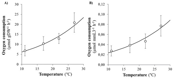 Evolution of oxygen consumption rates of Hediste diversicolor according to temperature.