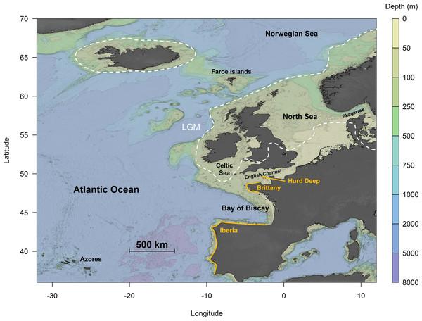 Topographical map of the northeast Atlantic Ocean.
