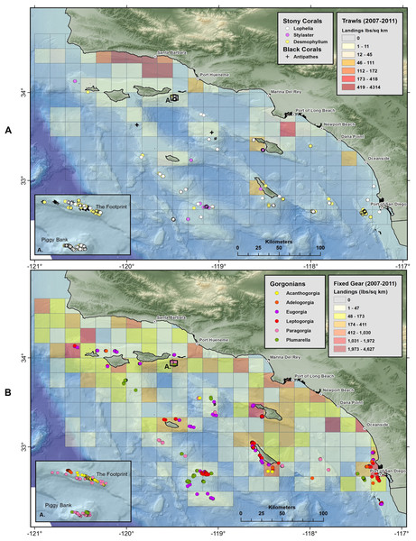 Maps showing geographic distribution of commercial demersal fisheries landings in the Southern California Bight.