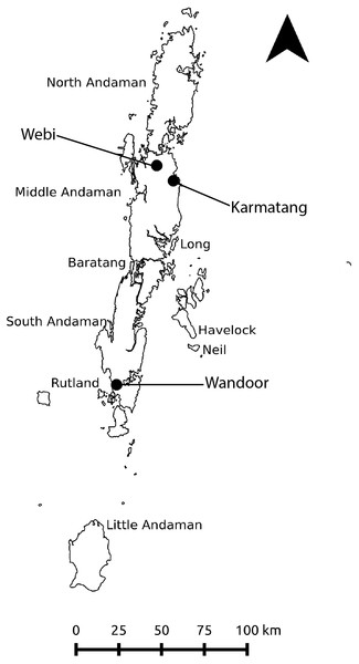 Study area map showing the major islands of the Andaman archipelago and the three sampling locations.