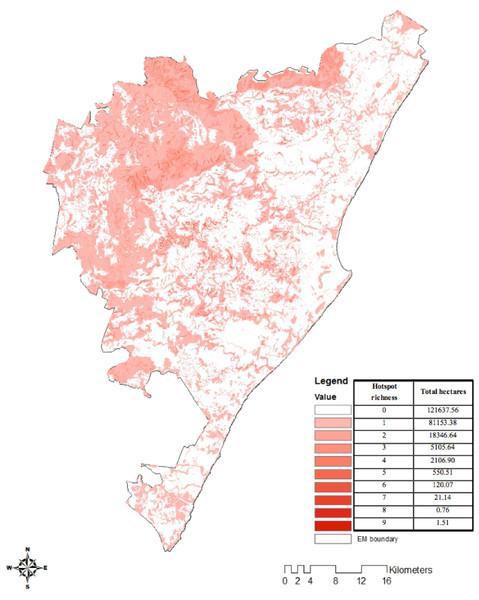 Ecosystem service hotspot richness map.