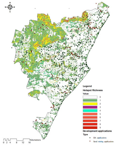 Development and sand mining applications relative to hotspot richness.
