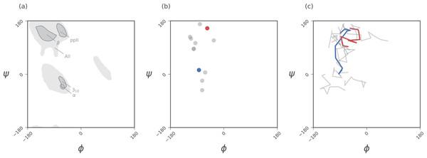 Ramachandran plots allow for the per-residue representation of backbone conformation.