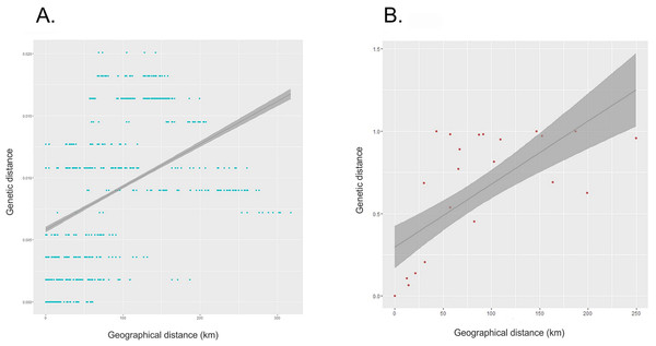 Correlation between genetic and geographic distances.