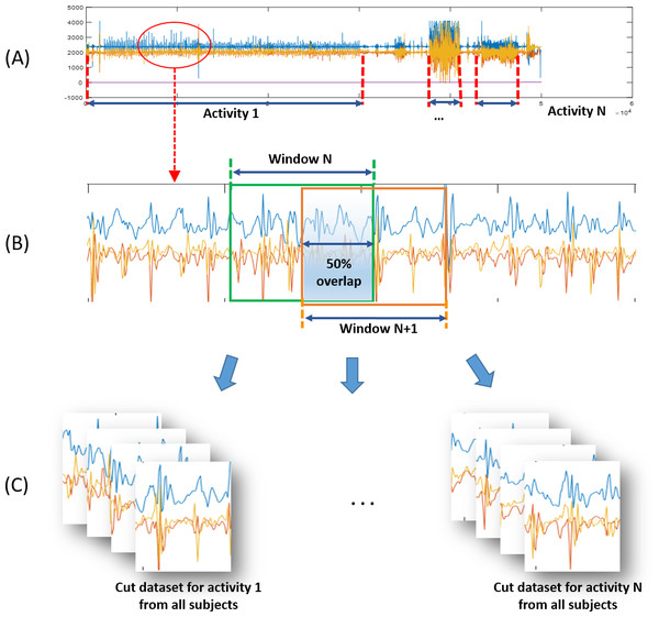 Preprocessing procedures for physical activity training of classification algorithm.