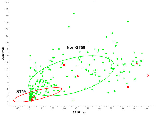 Scatter plot of the ST59 and non-ST59 isolates.