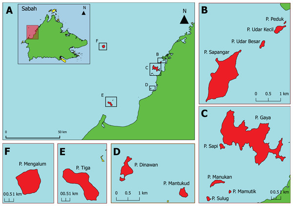 The 13 Sabah west coast islands selected and sampled in this study.