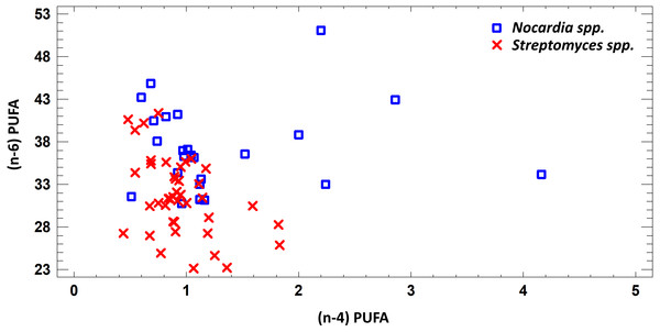 Differences of quantity of total (n − 4) and (n − 6) PUFA in cell biomass of Nocardia sp. and Streptomyces sp. isolated from underground lakes.