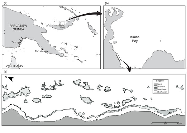 Maps showing (A and B) the location of Kimbe Bay and (C) the 19 inshore reefs.