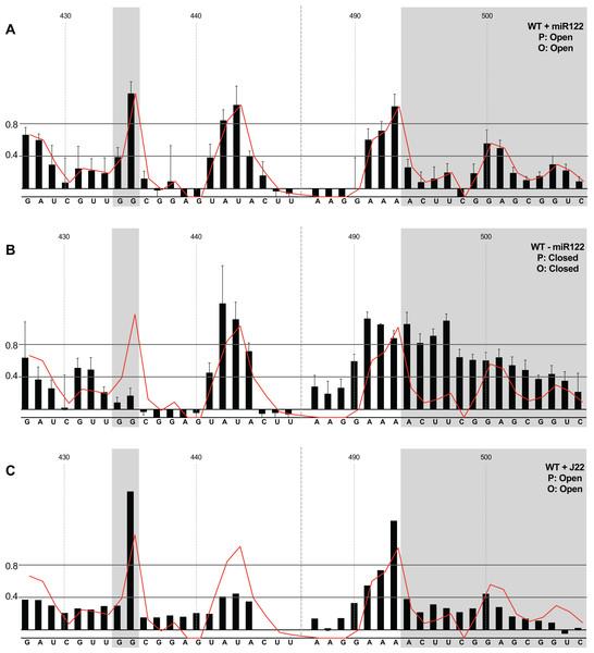 SHAPE analysis of parental template plus/minus miR122.