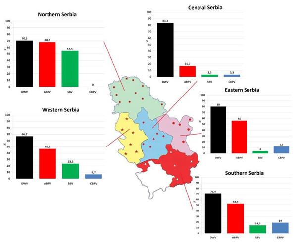 Prevalence patterns of investigated viruses in honey bee colonies in five regions of Serbia.