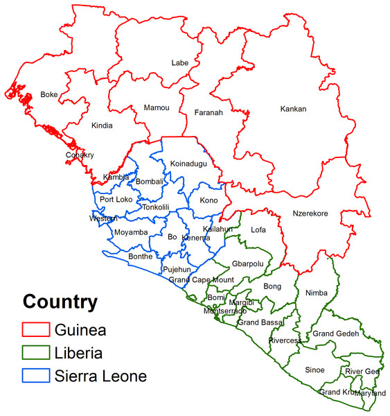 Map of the study area showing regions in West African countries affected by the 2014 Ebola Virus Disease outbreak.