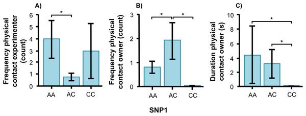 Associations between SNP1 and behaviors in golden retrievers.
