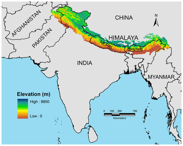 Spatial spread of the Himalayan mountain system across seven nations.