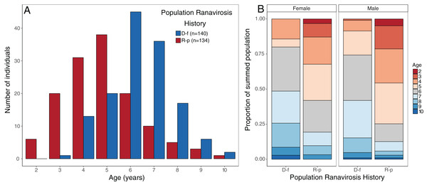 Observed age structure across disease-free and ranavirosis-positive R. temporaria populations.