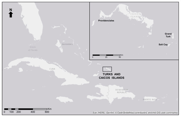 Map of the Turks and Caicos Islands.