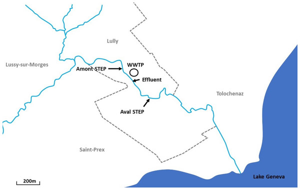 Location of sampling sites along the Boiron in the canton of Vaud, Switzerland.