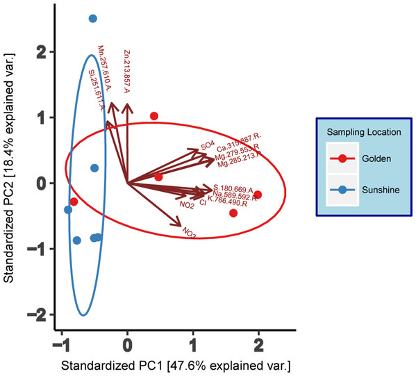 Principal component analysis (PCA) of geochemical data (IC/ICP-AES).