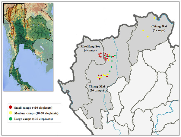 Distribution of elephant camps included in this study by province.