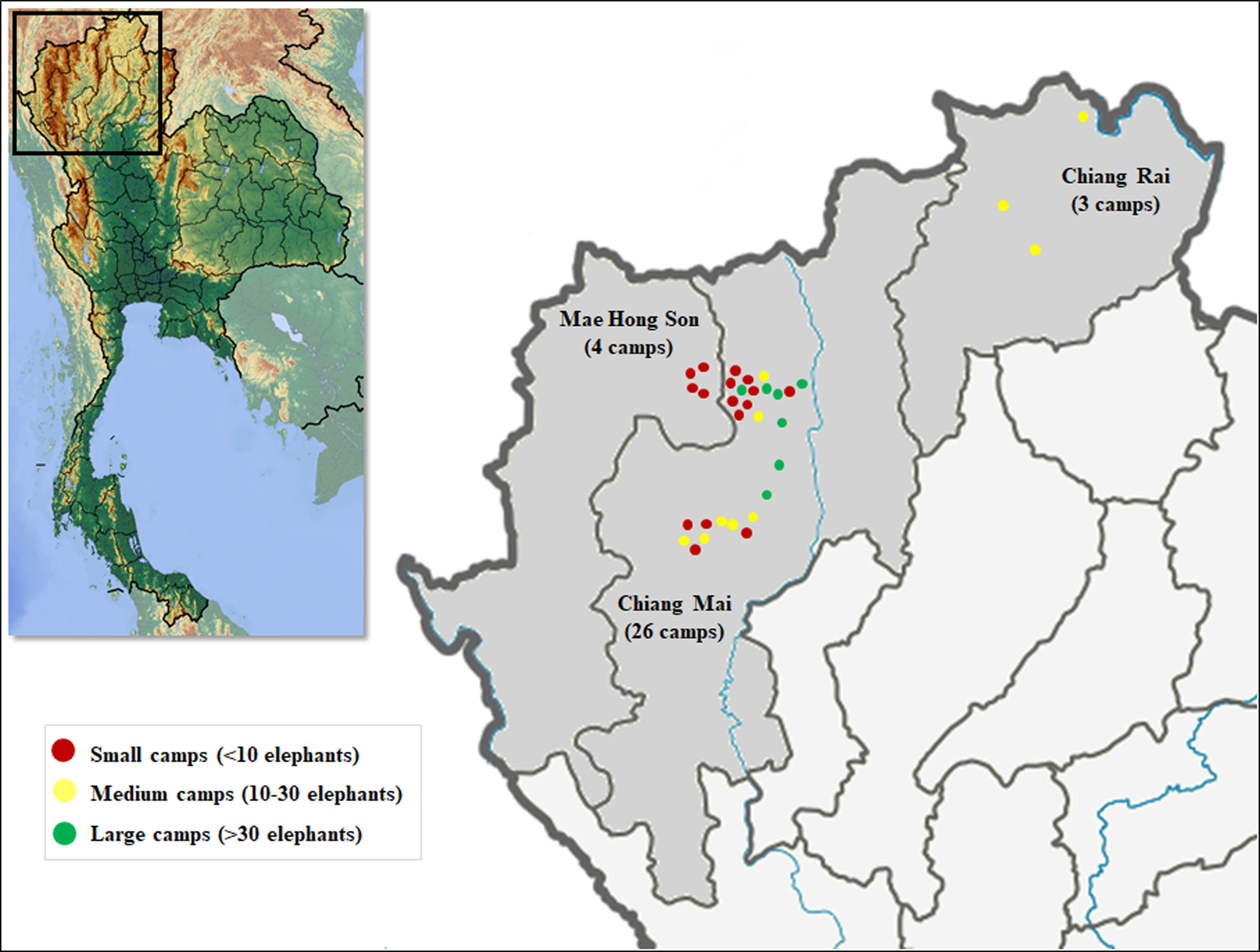 Changing trends in elephant camp management in northern Thailand and