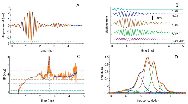 The impulse response from Recio & Rhode (2000) decomposed into five gammatones.