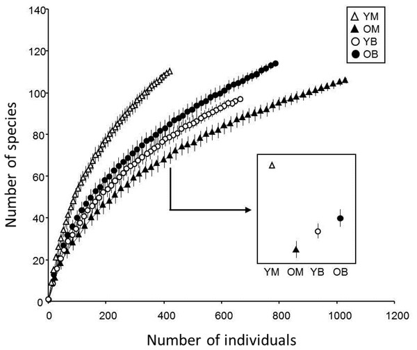 Rarefaction estimates species richness (±1 SE) of saproxylic Diptera in a Quebec deciduous forest plotted against number of individuals at different wood decay stages and tree species.